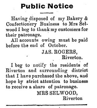 Transfer of Riverton bakery to son Albert September 1913