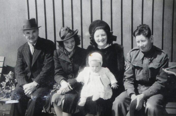 1942 Grandad Charles Selwood, Aunty Gladys McDonald, Grahame, Mum Lilian Walton, Dad James Walton