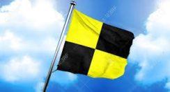 4.3 Quarantine flag as flown by the Oamaru on arrival 16 Dec 1876