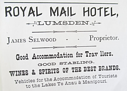 James Selwood Royal Mail Hotel advertisement