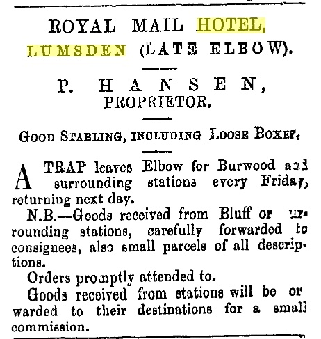 Lumsden to Burwood transport from Royal Mail Hotel about 1878